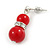 9mm Bright Red Ceramic Bead With Crystal Ring Drop Earrings In Silver Tone - 30mm - view 3