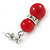 9mm Bright Red Ceramic Bead With Crystal Ring Drop Earrings In Silver Tone - 30mm - view 4