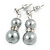 9mm Light Grey Glass Pearl Bead With Crystal Ring Drop Earrings In Silver Tone - 30mm