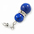 9mm Royal Blue Ceramic Bead With Crystal Ring Drop Earrings In Silver Tone - 30mm - view 2