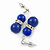 9mm Royal Blue Ceramic Bead With Crystal Ring Drop Earrings In Silver Tone - 30mm - view 3