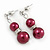 9mm Wine Red Glass Pearl Bead With Crystal Ring Drop Earrings In Silver Tone - 30mm - view 2