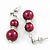9mm Wine Red Glass Pearl Bead With Crystal Ring Drop Earrings In Silver Tone - 30mm - view 3