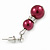 9mm Wine Red Glass Pearl Bead With Crystal Ring Drop Earrings In Silver Tone - 30mm - view 4