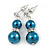 9mm Teal Glass Pearl Bead With Crystal Ring Drop Earrings In Silver Tone - 30mm