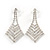Bridal/ Prom/ Wedding/ Party Clear Crystal Tie Drop Earrings In Rhodium Plating - 45mm L