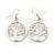 'Tree Of Life' Round Drop Earrings In Silver Tone Metal - 40mm L