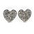 Small Silver Tone Clear Crystal Heart Stud Earrings - 13mm
