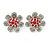 Clear Crystal, Red Enamel 'Sunflower' Floral Stud Earrings In Silver Tone - 20mm D