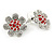 Clear Crystal, Red Enamel 'Sunflower' Floral Stud Earrings In Silver Tone - 20mm D - view 6