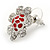 Clear Crystal, Red Enamel 'Sunflower' Floral Stud Earrings In Silver Tone - 20mm D - view 4