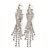 Bridal/ Prom/ Wedding Clear Crystal Cross Dangle Earrings In Rhodium Plating - 75mm L