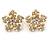 Clear Crystal, Faux Pearl Flower Stud Earrings In Gold Tone - 25mm Diameter