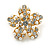 Clear Crystal, Faux Pearl Flower Stud Earrings In Gold Tone - 25mm Diameter - view 6