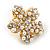 Clear Crystal, Faux Pearl Flower Stud Earrings In Gold Tone - 25mm Diameter - view 4