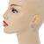 Clear Crystal, Faux Pearl Flower Stud Earrings In Gold Tone - 25mm Diameter - view 2