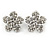 Clear Crystal, Faux Pearl Flower Stud Earrings In Silver Tone - 25mm Diameter