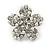 Clear Crystal, Faux Pearl Flower Stud Earrings In Silver Tone - 25mm Diameter - view 6