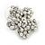 Clear Crystal, Faux Pearl Flower Stud Earrings In Silver Tone - 25mm Diameter - view 4