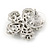 Clear Crystal, Faux Pearl Flower Stud Earrings In Silver Tone - 25mm Diameter - view 5
