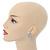 Clear Crystal, Faux Pearl Flower Stud Earrings In Silver Tone - 25mm Diameter - view 2