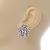 Clear Crystal, Faux Pearl Flower Stud Earrings In Silver Tone - 25mm Diameter - view 3