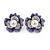 Purple Enamel, Clear Crystal Faux Glass Pearl Flower Stud Earrings In Silver Tone Metal - 20mm D