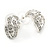 20mm C Shape Clear Crystal Leaf Drop Earrings In Rhodium Plating - view 1