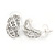 20mm C Shape Clear Crystal Leaf Drop Earrings In Rhodium Plating - view 7