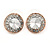 15mm Clear Glass Button Stund Earrings In Rose Gold Tone Metal