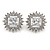 Stunning Clear CZ Square Stud Earrings In Rhodium Plating - 20mm L - view 4