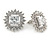 Stunning Clear CZ Square Stud Earrings In Rhodium Plating - 20mm L