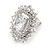 Stunning Clear CZ Square Stud Earrings In Rhodium Plating - 20mm L - view 6