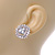Stunning Clear CZ Square Stud Earrings In Rhodium Plating - 20mm L - view 3