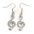 Clear Crystal Treble Clef Drop Earrings In Silver Tone Metal - 45mm L