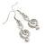 Clear Crystal Treble Clef Drop Earrings In Silver Tone Metal - 45mm L - view 2