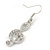 Clear Crystal Treble Clef Drop Earrings In Silver Tone Metal - 45mm L - view 3