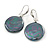 Dark Grey Coin Shape Shell Drop Earrings In Silver Tone - 35mm L