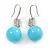 Light Blue Ceramic Bead Clear CZ Drop Earrings 925 Sterling Silver - 40mm L - view 4