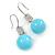 Light Blue Ceramic Bead Clear CZ Drop Earrings 925 Sterling Silver - 40mm L
