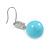 Light Blue Ceramic Bead Clear CZ Drop Earrings 925 Sterling Silver - 40mm L - view 5