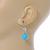 Light Blue Ceramic Bead Clear CZ Drop Earrings 925 Sterling Silver - 40mm L - view 3
