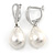 Classic White Polished Teardrop Shape Pearl Style Earrings In Rhodium Plated Alloy - 33mm L - view 4