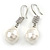 Bridal/ Prom/ Wedding White Freshwater Pearl Clear Crystal Teardrop Earrings 925 Sterling Silver - 40mm L - view 5