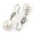 Bridal/ Prom/ Wedding White Freshwater Pearl Clear Crystal Teardrop Earrings 925 Sterling Silver - 40mm L - view 6