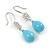 Light Blue Ceramic Teardrop Bead Clear CZ Drop Earrings 925 Sterling Silver - 40mm L - view 4