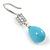 Light Blue Ceramic Teardrop Bead Clear CZ Drop Earrings 925 Sterling Silver - 40mm L - view 5