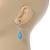 Light Blue Ceramic Teardrop Bead Clear CZ Drop Earrings 925 Sterling Silver - 40mm L - view 3