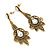 Vintage Inspired Filigree Clear/ Hematite Crystal Chandelier Earrings In Aged Gold Tone - 63mm L - view 4