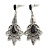Vintage Inspired Filigree Crystal Chandelier Earrings In Aged Silver Tone - 63mm L